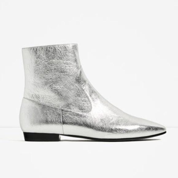 Zara Shoes   Silver Flat Ankle Boots   Poshma