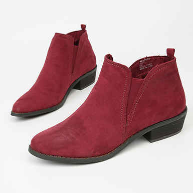 Women's Flat Ankle Boots in Deep R