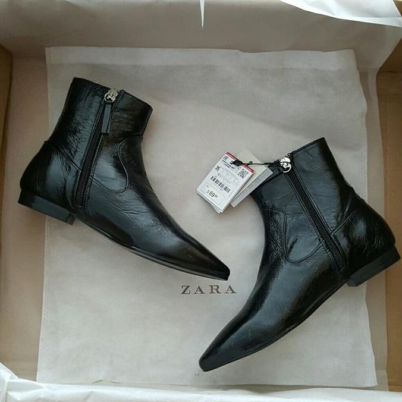 Zara Shoes   Italian Leather Flat Ankle Boots   Poshma