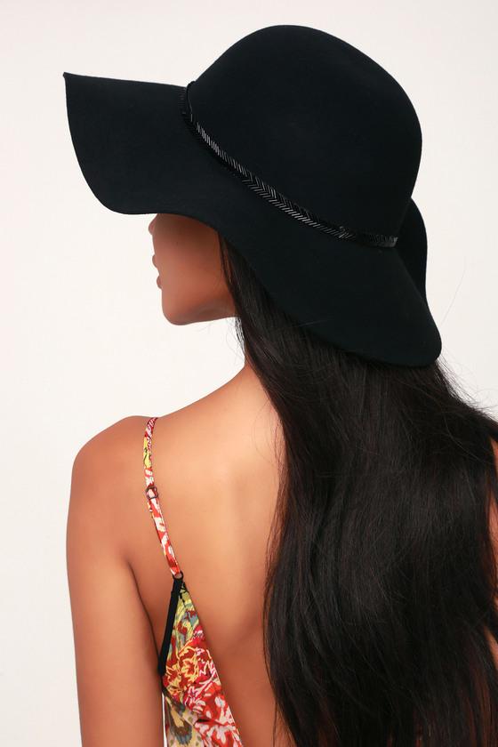 Cute Black Hat - Floppy Hat - Sun Hat - Beaded H