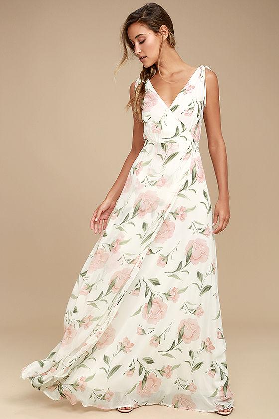 White Maxi Dress - Floral Maxi Dress - Plunging Maxi Dre