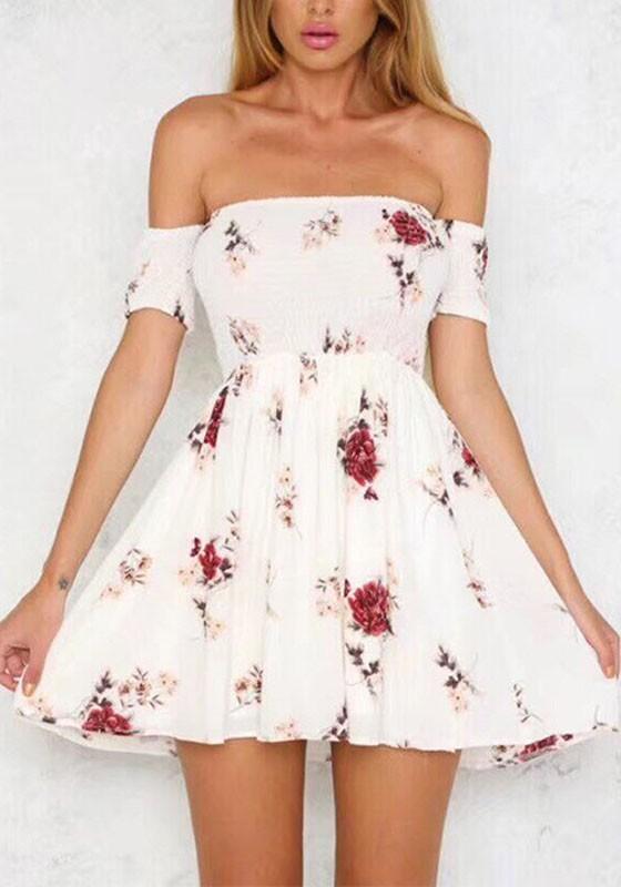 White Floral Ruffle Boat Neck Short Sleeve Fashion Mini Dress .