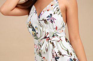 Cute White Floral Print Romper - Wrap Romper - Lace Romp