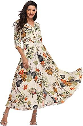 Summer Floral Print Maxi Dress Women Button Up Split Long Flowy .