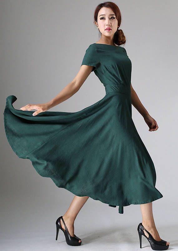 Maxi dress linen dress woman Green dress flowy dress#ad#dress .