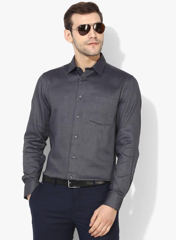 Buy Blackberrys Charcoal Grey Slim Fit Self Design Formal Shirt .
