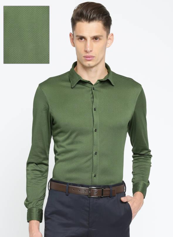 Buy Arrow New York Olive Green Super Slim Fit Printed Formal Shirt .