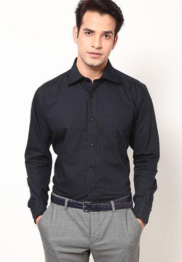 Black Regular Fit Formal Shirt | Formal shirts, Mens black shirt .