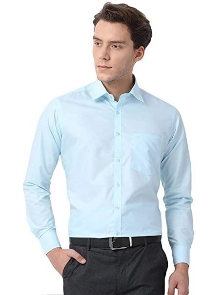 Buy PSK Exports Men's Checkred Slim Fit Formal Shirt Sky Blue .