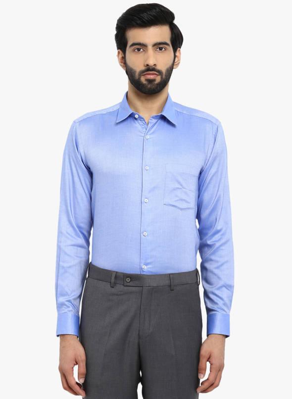 Buy Park Avenue Blue Solid Slim Fit Formal Shirt Online - 7481599 .