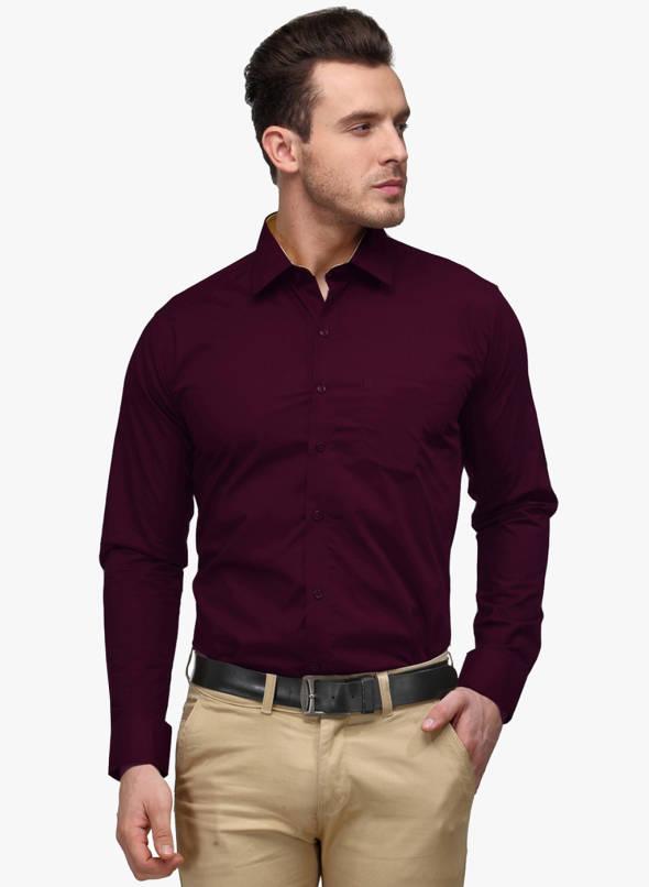 Buy Hancock Wine Solid Slim Fit Formal Shirt Online - 3563336 - Jabo