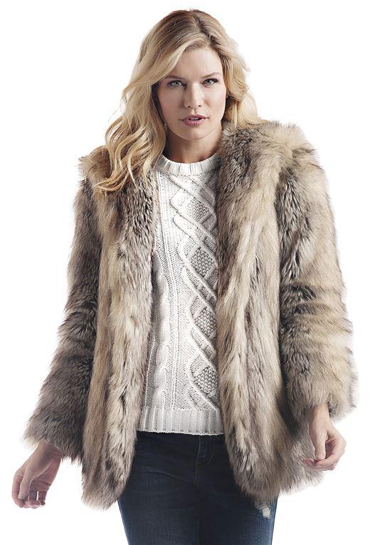 Grey Fox Hooded Faux Fur Jacket   Womens Faux Fur Jacke