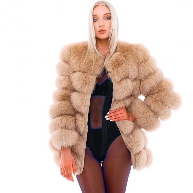 """Fox Fur Jacket """"VOGUE"""" in caramel color   WeLoveFurs.c"""