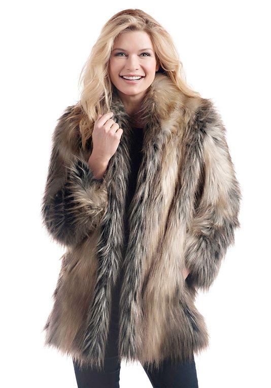 Pieced Fox Shawl Collar Faux Fur Jacket   Womens Faux Fur Jacke