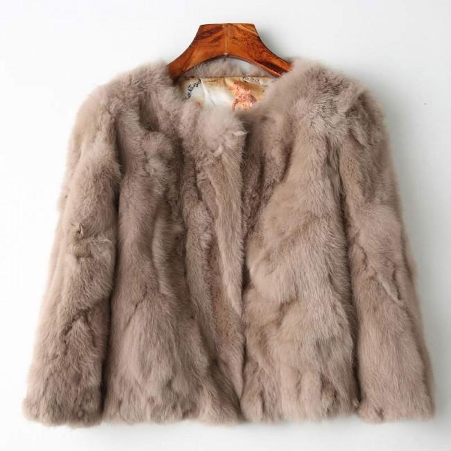 Genuine Full Pelt Fur Jacket Women's Design Rabbit Fur Coat .