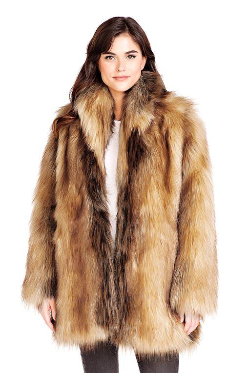 Red Fox Shawl Collar Faux Fur Jacket   Faux Fur Shaw