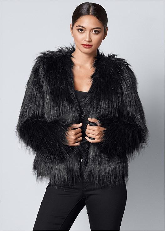 Faux Fur Jacket in Black   VEN