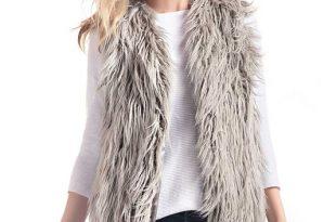 Grey Tibetan Lamb Faux Fur Vest   Womens Faux Fur Vests - Donna .