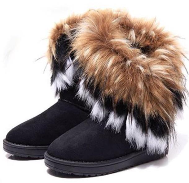 bottes, bottes à fourrure, bottes ugg, bottes noires, fourrure, chaussures, fourrure à fourrure.