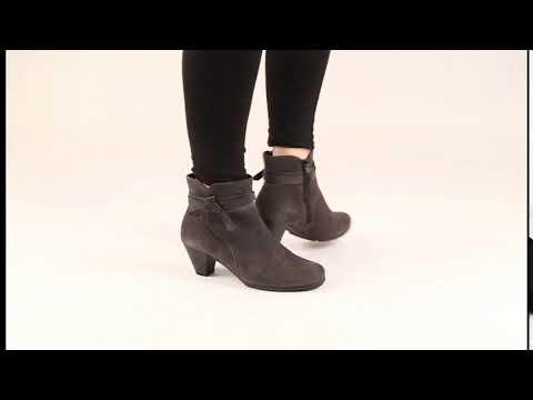 Gabor Tiffey Grey Suede Modern Suede Zip Ankle Boots - YouTu