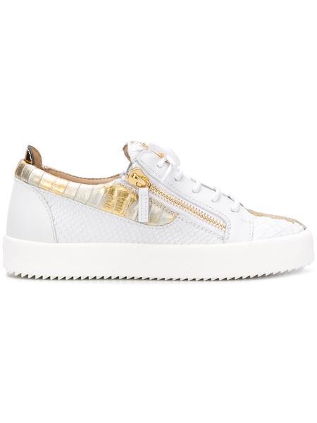 GIUSEPPE ZANOTTI Gail Metallic Low Top Women's Sneaker, White .