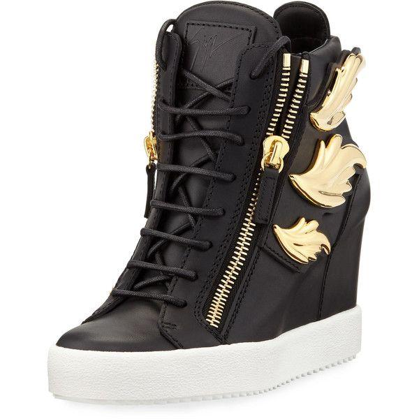 Giuseppe Zanotti Metallic Wing Leather High-Top Wedge Sneaker .