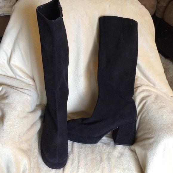 Steve Madden Shoes | Black Suede Gogo Boots | Poshma