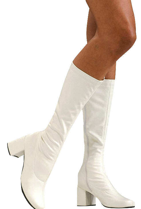 """Go Go"""" Boots - A low-heeled style of women's fashion boot worn ."""