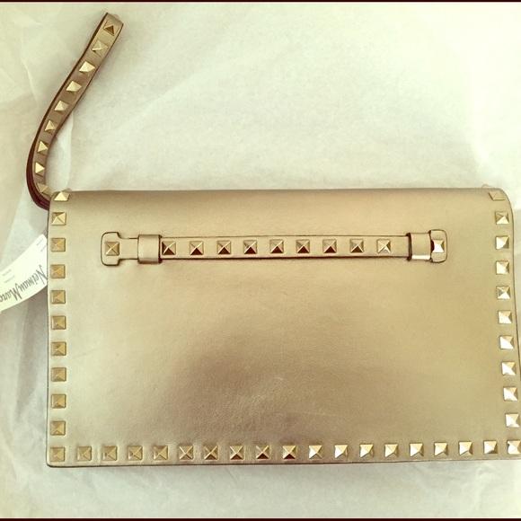 Valentino Bags | Rockstud Flap Clutch Bag Bronze Gold | Poshma