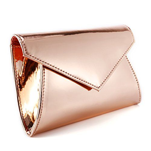 ATUPEIY Shimmery Metallic PU Leather Sparkling Flap Prom Clutch .