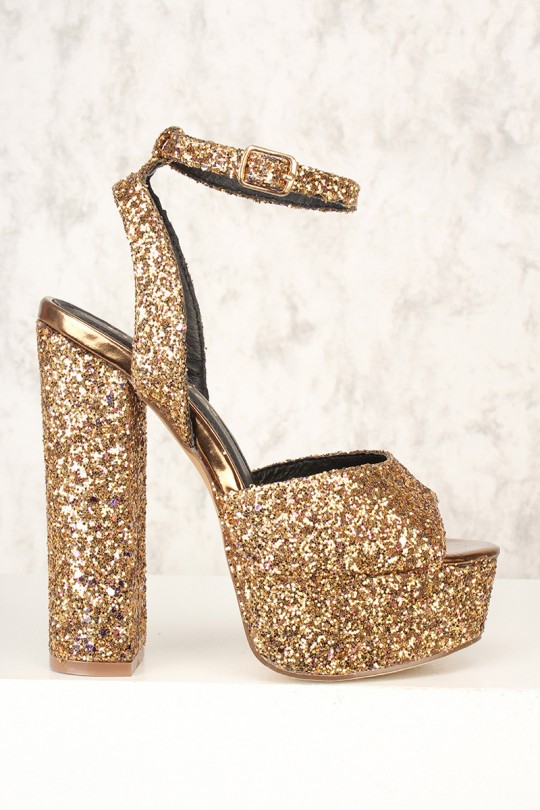 Sexy Gold Open Toe Platform Chunky Heels Glitt