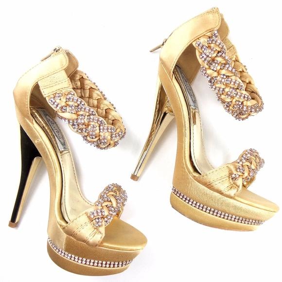 Italiana Shoes | 55 Gold Platform Heels Sandals | Poshma