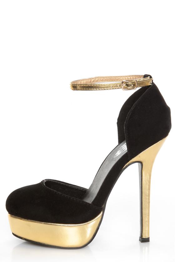 Merci 2 Black and Gold D'Orsay Platform Heels - $39.