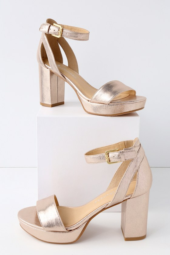 CL by Laundry Go On Heels - Light Gold Platform Hee