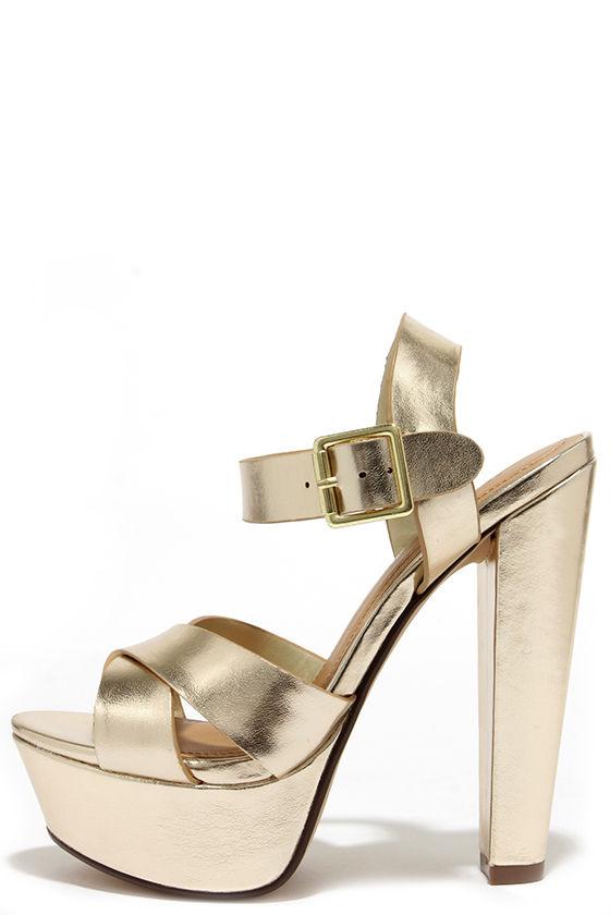 Sexy Gold Heels - Platform Heels - Platform Sandals - $27.