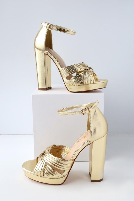 Chic Gold Heels - Vegan Leather Heels - Platform Hee
