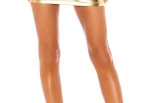 superdown Maye Mini Skirt in Gold | REVOL