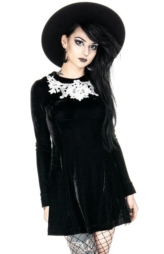 DOLLY DRESS Black gothic velvet dress with white lace collar - Resty