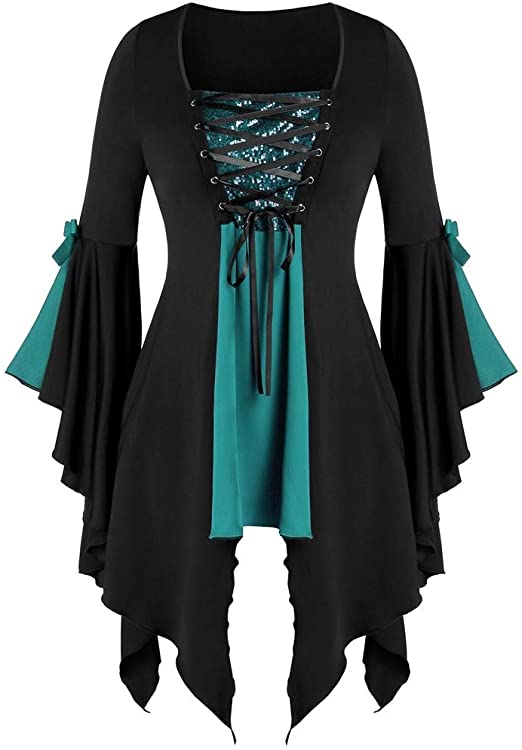 TWGONE Gothic Clothing Women Tops Plus Size Long Sleeve Sequined .