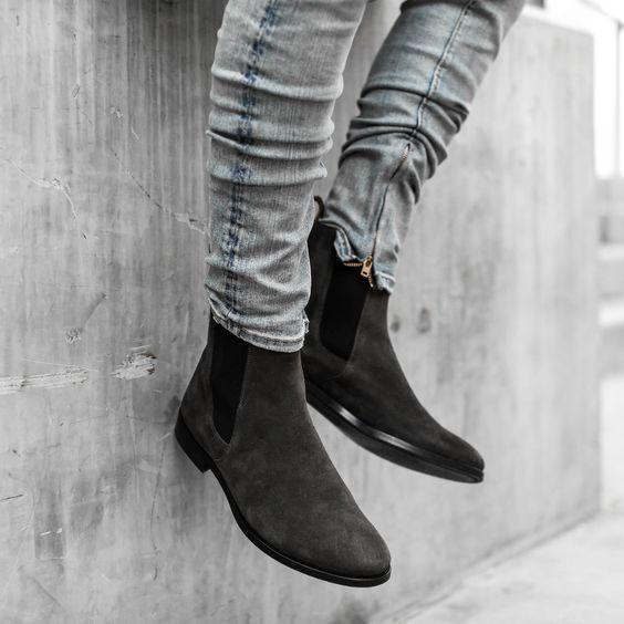 Handmade Men Dark Gray Suede Chelsea boots, Men Casual boots, Men .