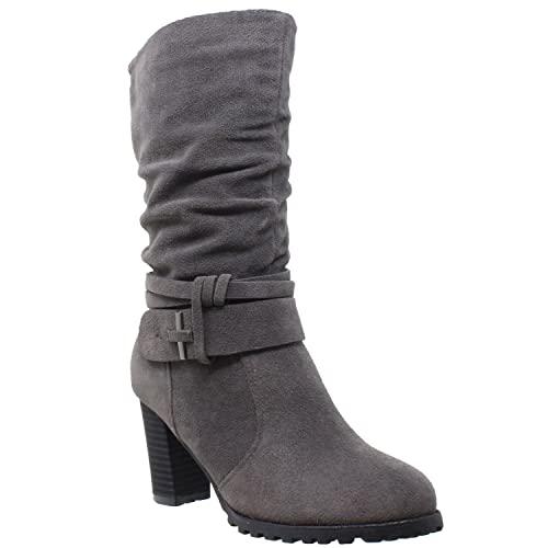 Mid Calf Grey Boots: Amazon.c