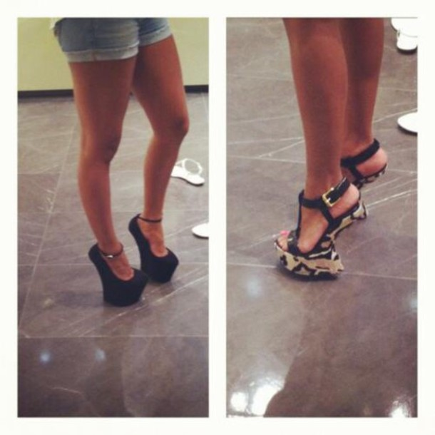 Schuhe, Absätze, Absätze ohne Absatz, schwarze, schwarze High Heels - Wheretog