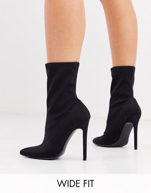 ASOS DESIGN Wide Fit Esmerelda high heeled sock boots in black | AS
