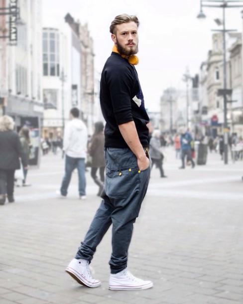 white shoes, grey pants, studded pants, dance pants, men's outfit .