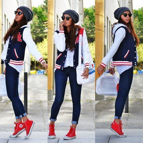 Laid back, but cute!??? | Red converse outfit, High top converse .