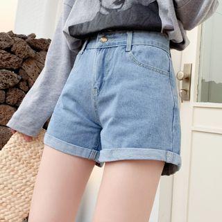 QUEQUE High Waist Cuffed Denim Shorts | YesSty