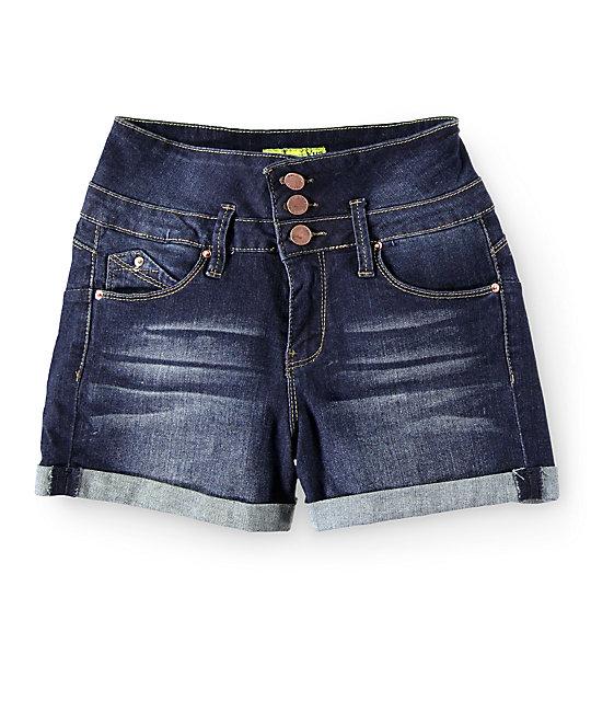 YMI WannaBettaButt Dark Wash High Waisted Denim Shorts | Zumi