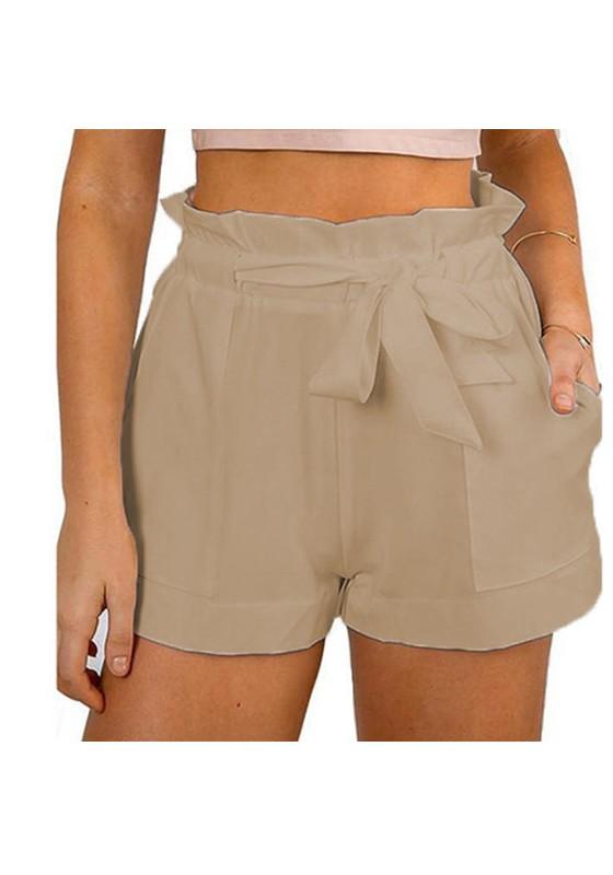 Khaki Plain Sashes Elastic Waist High Waisted A Type Casual Shorts .