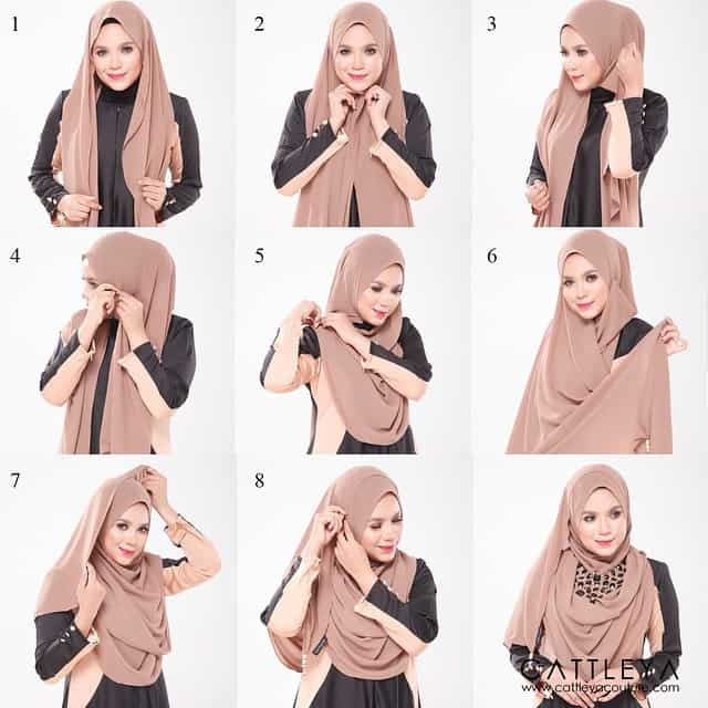 Beautiful hijab style To Wear With a Necklace - Hijab Fashion .