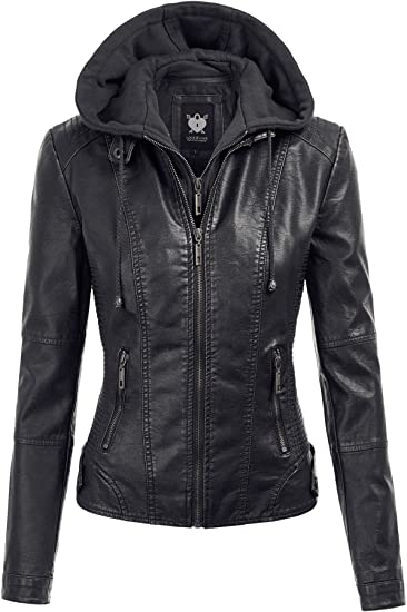 Lock and Love Women's Removable Hooded Faux Leather Moto Biker .